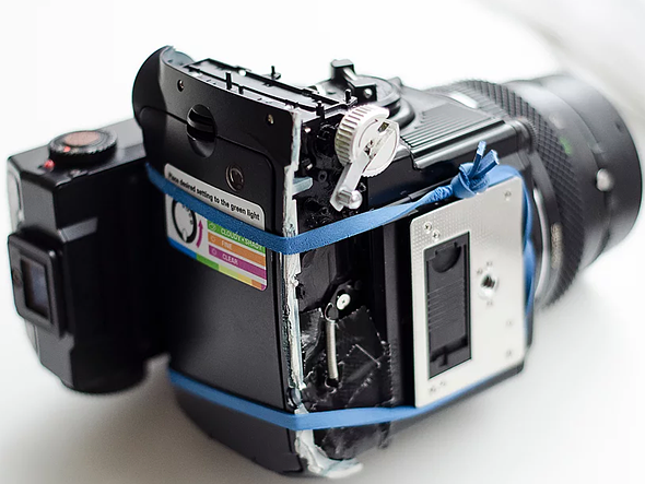 How to hack a Bronica ETRS to shoot Fuji Instax Mini film 4