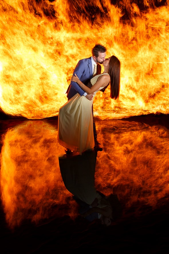 This crazy fire-and-water wedding portrait was shot in a single exposure 2