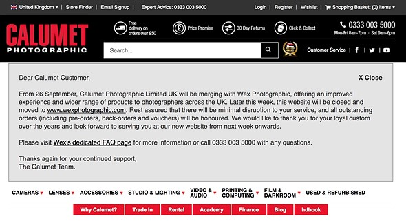 Calumet UK and Wex Photographic will officially merge tomorrow 2