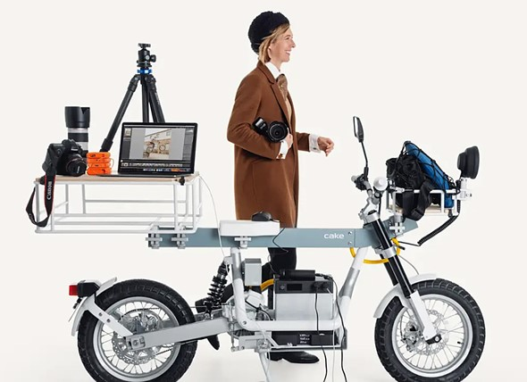 CAKE Ösa electric utility motorcycle can function as an off-grid mobile studio
