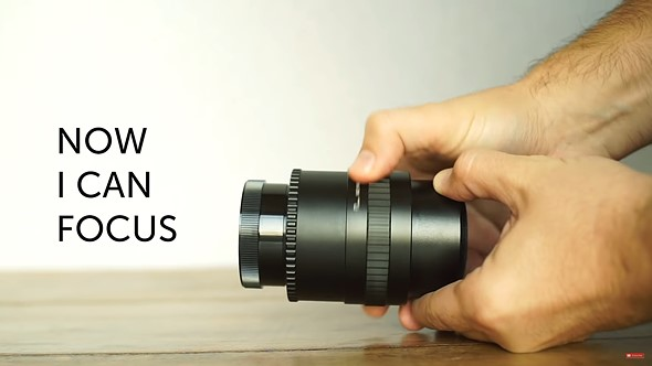 ee575ef5527 Mathieu discovered the lens fit perfectly into a M52 helicoidal tube which  then allowed him to vary the apparent length of the lens so he could focus  at a ...