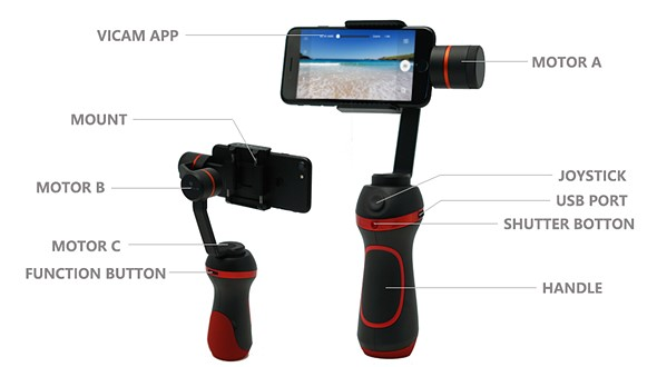 Vimble S is an intelligent smartphone gimbal with physical camera controls 2