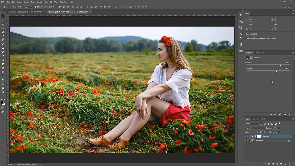 The difference between Saturation and Vibrance explained