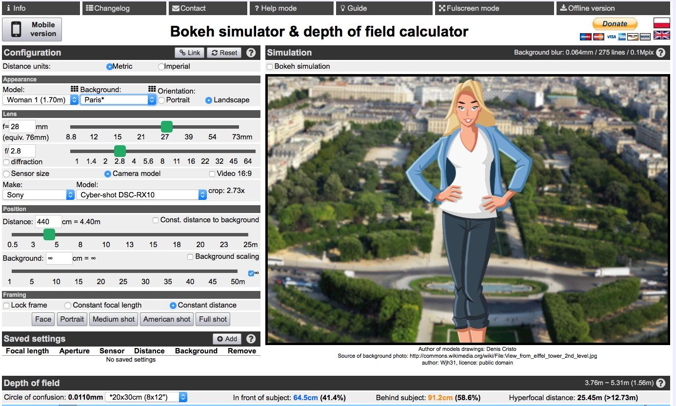 Bokeh simulator & depth of field calculator: Sony Cyber-shot