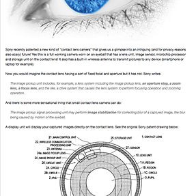 Sony patents a new contact lens camera