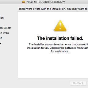 Error on installing Mitsubishi 3800 drivers on Mac