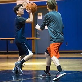 Basketball in a dark gym