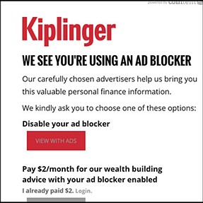 sites objecting to Adblock Plus