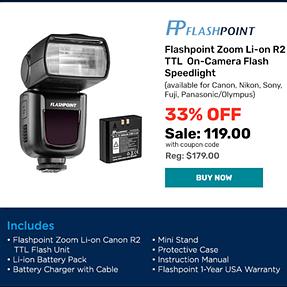 ALERT Flashpoint Zoom Li-on R2 TTL (Godox V860ii) Flash sale today only $119