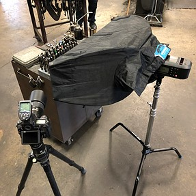 Some snaps of one of the lighting setups I used during a shoot in a machine shop today