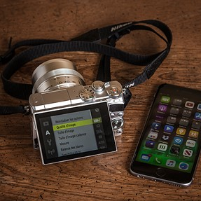 My iPhone 6s and the Nikon 1 J5