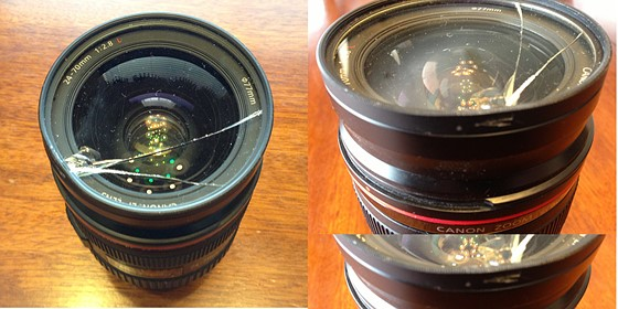 Canon 24 70mm F 2 8l With Cracked Filter Stuck On Lense
