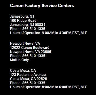 Re: Best Canon Service Center in your opinion?: Canon EOS-1D