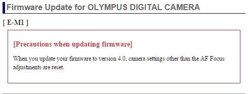 New OM-D E-M1 Firmware ver  4 0: Olympus SLR Talk Forum