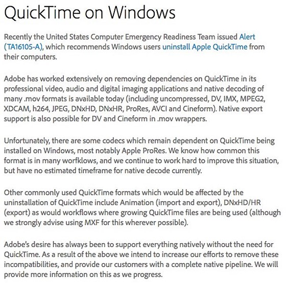 Quicktime risk on Windows - adobe dependancy?: Retouching