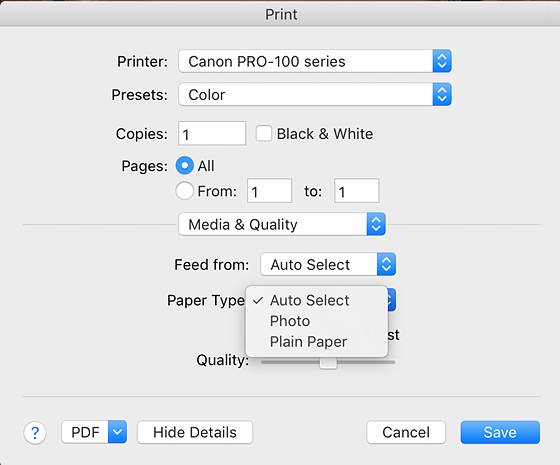 I Downloaded A New Driver For The Canon Pro 100 But It Still Shows Only Limited Options Under Print Settings