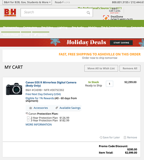 200 Off Eos R At Bh With Promo Code Adorama Refuses To Price Match Canon Eos R Talk Forum Digital Photography Review