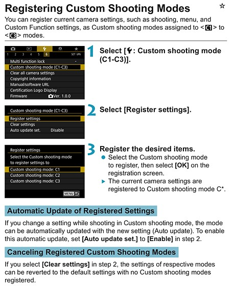 RP, can't register custom movie settings in Cx: Canon EOS R Talk